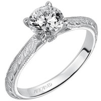 "Artcarved ""Imani"" Solitaire Diamond Engagement Ring Featuring Knife Edge Engraved Shank"