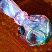 Purple and Blue Color Changing Glass Pipe with Flower