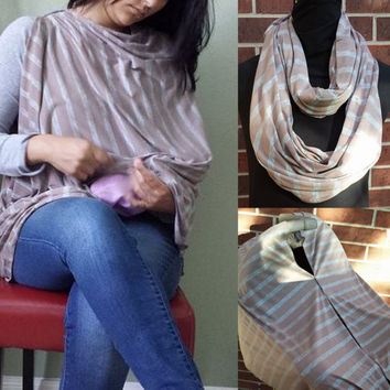 Nursing Cover/Scarf/Car Seat Cover 3-1 Tan and gray