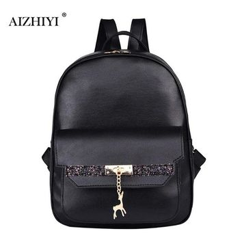 Girls bookbag Glitter Women PU Leather Deer Pendant Backpacks Girls Zipper Travel Bookbag Shoulder School Bags Simple Fashion AT_52_3