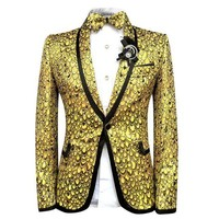 ONETOW Cloudstyle Men Blazer Suits Bright Scales Gold Suit Performance Tuxedo Party Prom Wedding Costume Homme Slim Fit