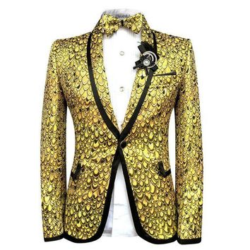 DCCKH0D Cloudstyle Men Blazer Suits Bright Scales Gold Suit Performance Tuxedo Party Prom Wedding Costume Homme Slim Fit
