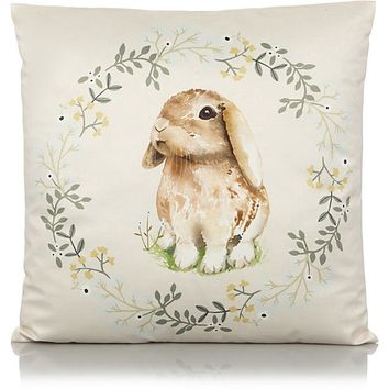 Natural Bunny Print Cushion | Home & Garden | George