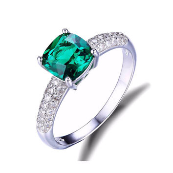 Women's Emerald Engagement Wedding Solitare Sterling Silver Square Cut Ring