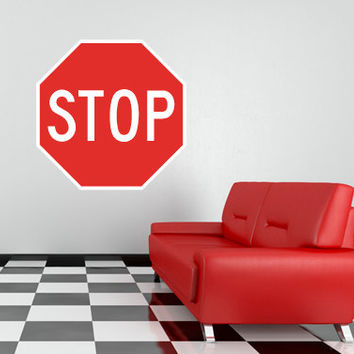 "Stop Sign Traffic Sign Repositionable Wall Decal 29""x29"" Home Decor"