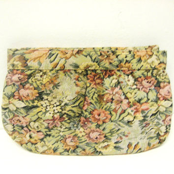 1980s Floral Tapestry Clutch Purse