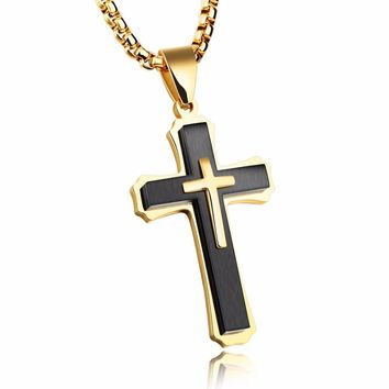 FATE LOVE Brand Men Necklaces & Pendants Male Cross Necklace Punk Stainless Steel Chain Fashion jewelry white Black golden
