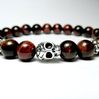 Red Tiger Eye Bracelet, Skull Bracelet, Unisex Jewellery, Beaded Bracelet, Unisex Bracelet, Tiger Eye Jewellery, Stretch Bracelet