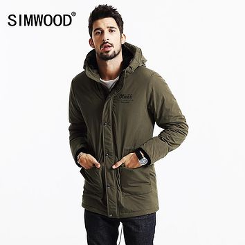 SIMWOOD 2017  Brand New Winter Coats Men  Long Parkas Thick Vintage Letter Jacket Clothing  Hooded  MF9601
