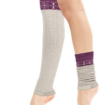 Dahlia Women's Angora Blend Knee High Leg Warmer - Snowflake with Dots