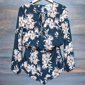 his girl floral romper with ruffle hem in navy