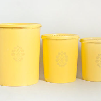 Vintage Sunshine Yellow Tupperware Nesting Kitchen Canister Set, Tupper Ware Servalier Storage Containers (Set of 3)