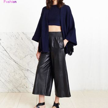 Retro High Faux Leather Waist Wide Leg Pants Loose Capris Pants 2015 New Women's PU Leather Casual OL Cropped Trousers Gaucho