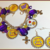 LA Lakers NBA Charm Bracelet and Earrings set nfl,ncaa,nba,mlb,nhl,nsl,nascar,women's custom made sports jewelry