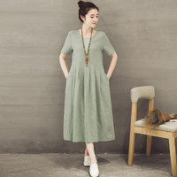 Women's Casual Short Sleeve Midi Pullover Linen Summer Dress
