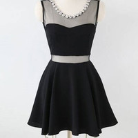 Charming Short Little Black Dress with Mesh Insert 1318441