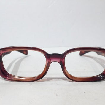 Vintage Amber Purple Tortoise Square Eyeglass Frame, New Old Stock, Vintage French Glasses Frames, NOS, 50s/60s Eyewear Nerd Geek Sunglasses