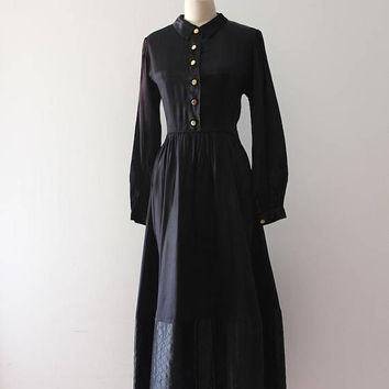 vintage 1940s hostess dress // 40s black satin gown