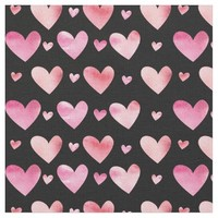 Pink Watercolor Hearts Valentines Fabric