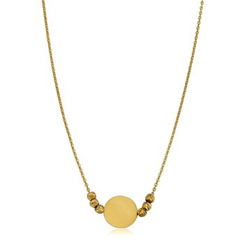 "14K Yellow Gold Round Disc And Diamond Cut Bead On 17"" To 18"" Adjustable Necklace"