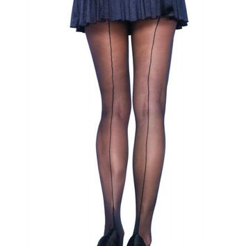 Sheer Cuban Heel Backseam Pantyhose in OSXL