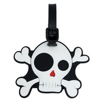 Punk Rock Skull And Crossbone Rubber Travel Luggage Tag