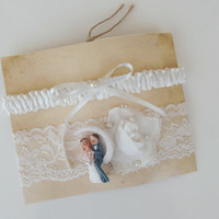 Bride Groom Bridal Garter, White or Ligth ivory Wedding Garter, Lace Wedding Garter, Bridal Garter, Wedding Gifts