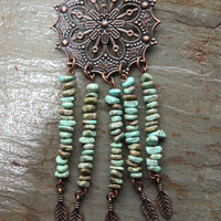 Antique Copper and Green Magnesite Dreamcatcher Necklace for Stress Reduction, Inner Peace, and Joy FREE SHIPPING within US