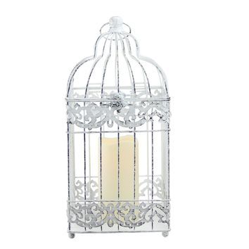 """15"""" White Distressed Metal Birdcage Lantern with Indoor/Outdoor LED Flameless Pillar Candle"""