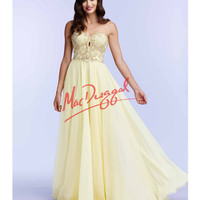 Lemon Yellow Strapless Embellished Bodice Gown