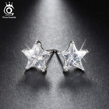 ORSA JEWELS Pure 925 Sterling Silver Earrings 0.8ct Cubic Zircon Star Stud Earring for Women Wedding Party 2017 New Jewelry SE02