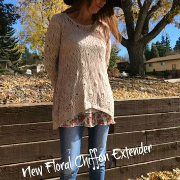 Floral Chiffon Top Extender,  Chiffon top Extender by Colorado Chick