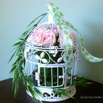 Round Decorative Birdcage / White Metal Bird cage with Pink Roses and Ribbon/ Small Centerpiece Birdcage