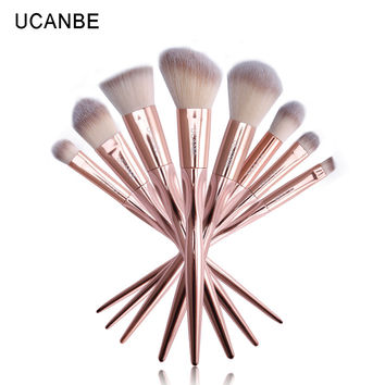 UCANBE Brand 8pcs Grasp Handle Rose Gold Metallic Makeup Brushes Kit Set For Eyeshadow Contour Top Soft Fiber Hair Make Up Brush