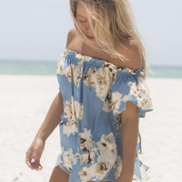 Spellbound Dusty Blue Off the Shoulder Flower Print Top