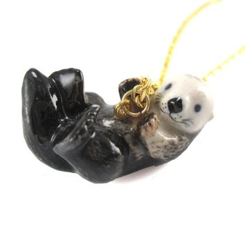 Porcelain Sea Otter Shaped Hand Painted Ceramic Animal Pendant Necklace | Handmade