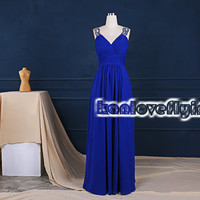 Sexy backless floor length royal blue prom dresses,long party dress show the back,royal blue formal dress,long chiffon evening dresses