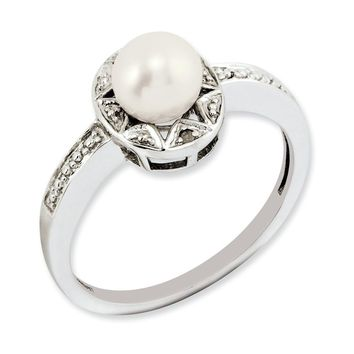 Sterling Silver Diamond & Pearl June Birthstone Ring