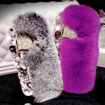 3D Rabbit Fur Case For iPhone 7 Case Luxury Bling Diamong Fox Head Cover For Coque iPhone 6S Case For iPhone 7 Plus 6S Plus 5S