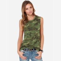 Women Camouflage Tank Tops 2016 Summer New Arrival Ladies Camo Print Sleeveless T Shirt O Neck Free Shipping