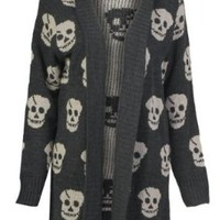 Forever Women's Skull Print Knitted Open Cardigan (SM-6/8, Black)