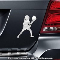 Lacrosse Goalie Female Car Magnet Chrome