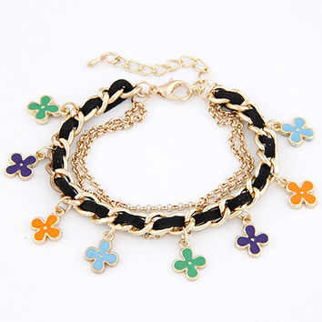 Sweet Style Golden Pendant Bracelet with Colorful Flower, Gift for Friend, Birthday Gifts, Party Jewelry, Handcrafted Jewelry 11040774