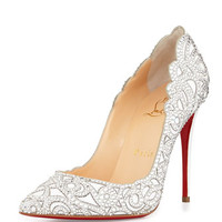 Christian Louboutin Top Vague Scalloped Crystal Red Sole Pump