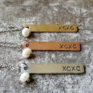 Hugs and Kisses Necklace. Love Necklace. Sweetheart Necklace. Gift For Her. Gift For Wife. XOXO Necklace. Girlfriend Necklace. Love Jewelry