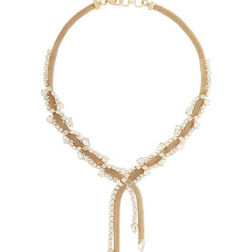 BCBGMAXAZRIA Embellished Mesh Chain Necklace