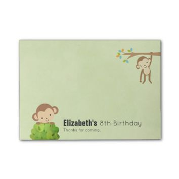 Monkeys Playful and Cute Birthday Thanks Post-it® Notes