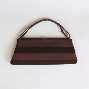 Vintage 1950s Lennox Brown Suede and Ribbon Purse
