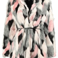 Boutique Emma Patchwork Faux Fur Coat With PU Belt | Boohoo