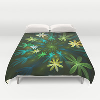 Fantasy Flowers, Fractal Art Duvet Cover by Gabiw Art
